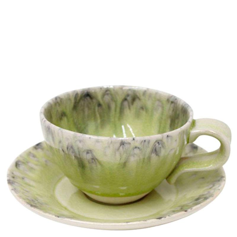 Чашка с блюдцем Costa Nova Madeira из керамики лимонного цвета