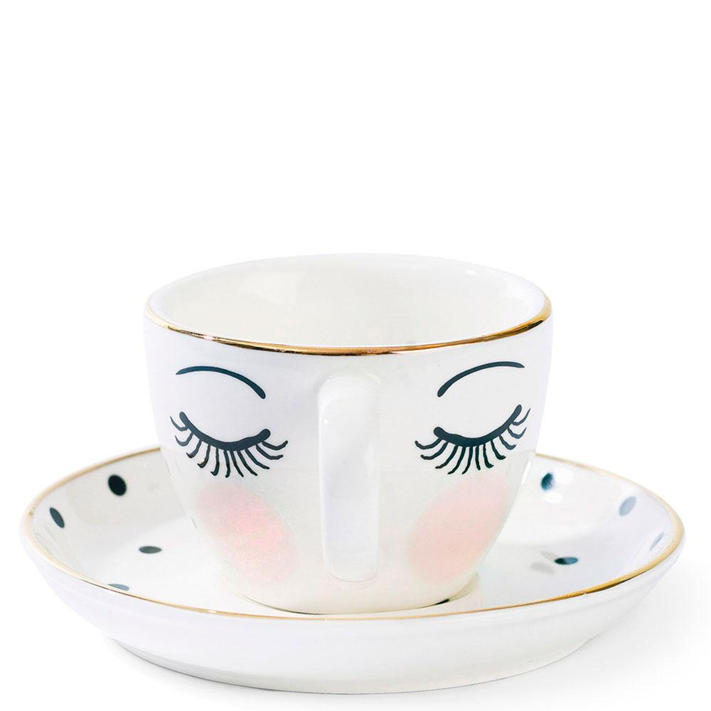 Чашка для кофе Miss Etoile с блюдцем в горошек