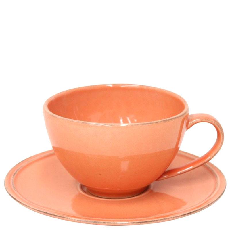Чашка с блюдцем Costa Nova Friso оранжевого цвета