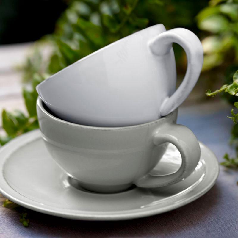 Керамические чашка с блюдцем Costa Nova Friso серого цвета