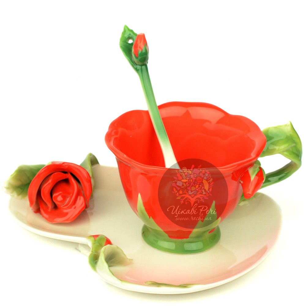 Набор Красная Роза: чашка блюдце ложечка Pavone