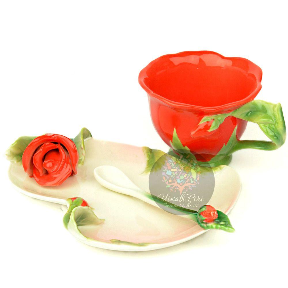 Набор Красная Роза: чашка, блюдце, ложечка Pavone