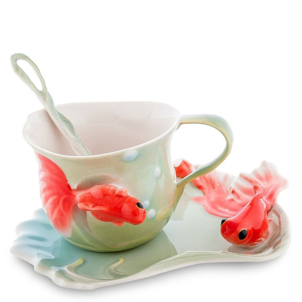 Чайная пара Pavone Золотые рыбки