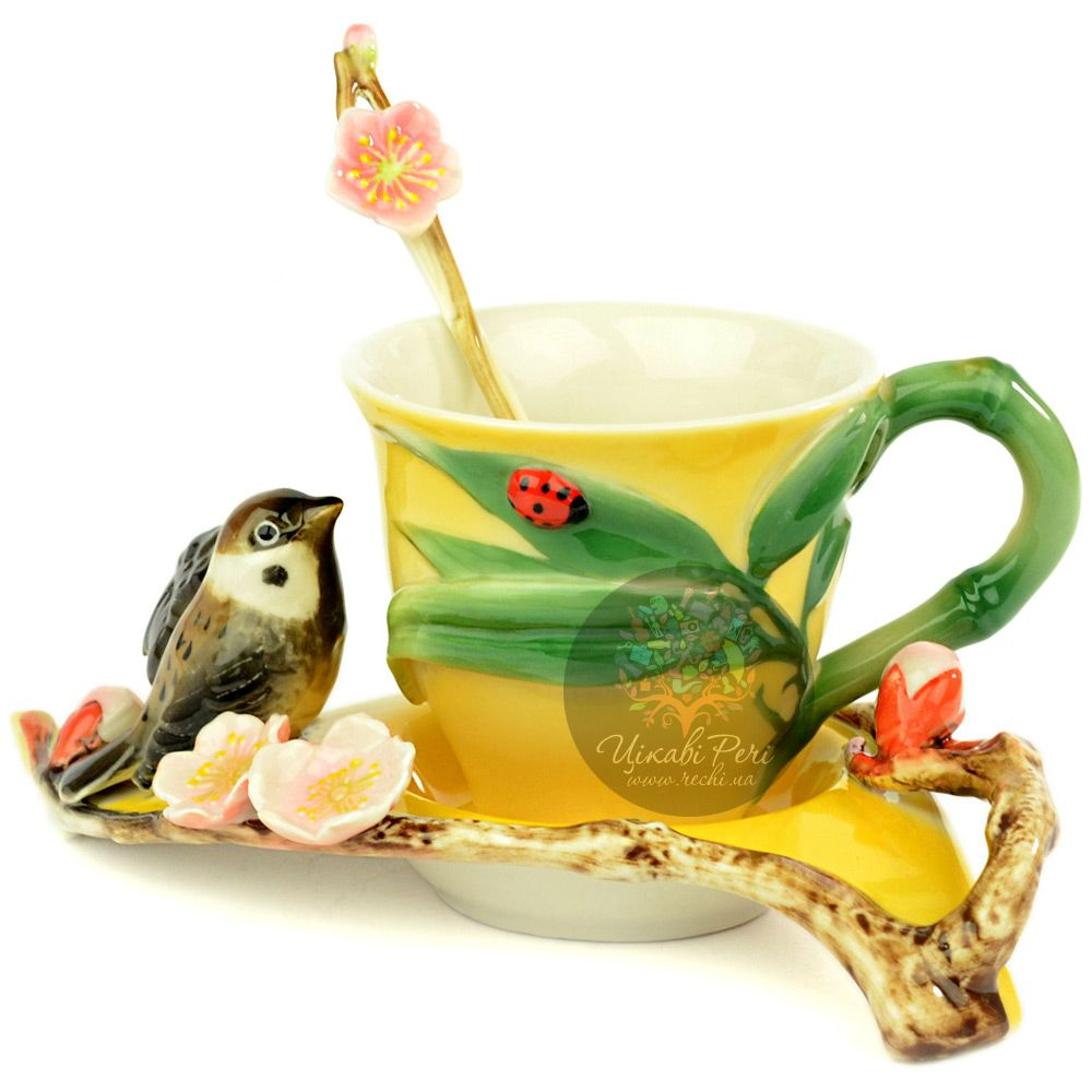 Набор Воробушек: чашка блюдце ложечка Pavone