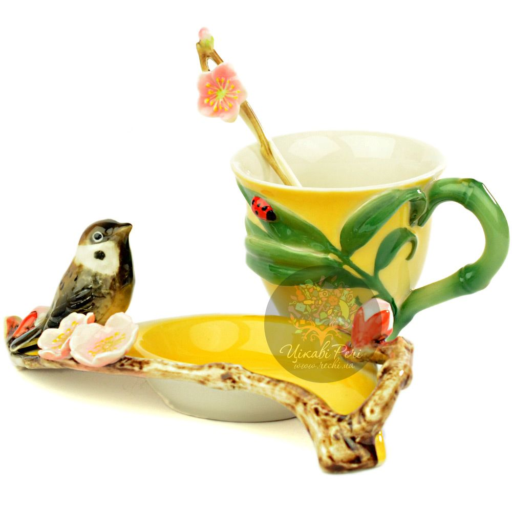 Набор Воробушек: чашка, блюдце, ложечка Pavone