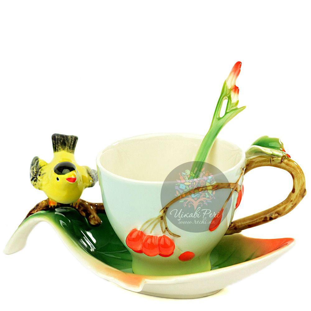 Набор Вишенки: чашка, блюдце, ложечка Pavone