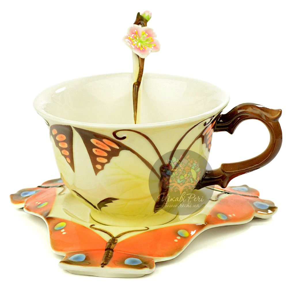 Набор Бабочка: чашка, блюдце, ложечка Pavone