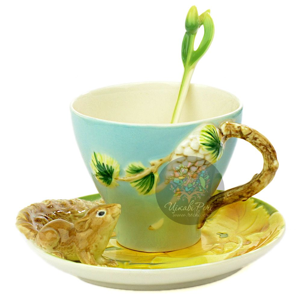 Набор Белочка: чашка, блюдце, ложечка Pavone
