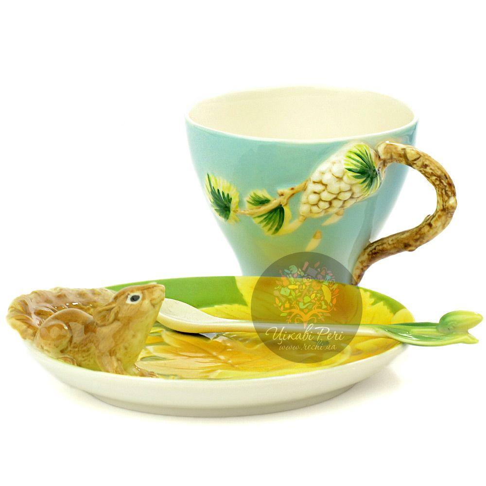 Набор Белочка: чашка блюдце ложечка Pavone