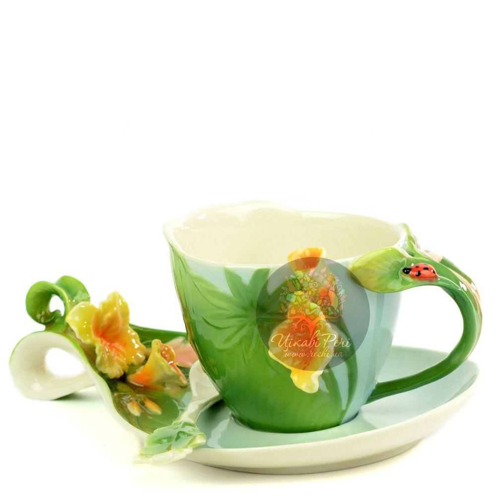 Набор Тропики: чашка, блюдце, ложечка Pavone