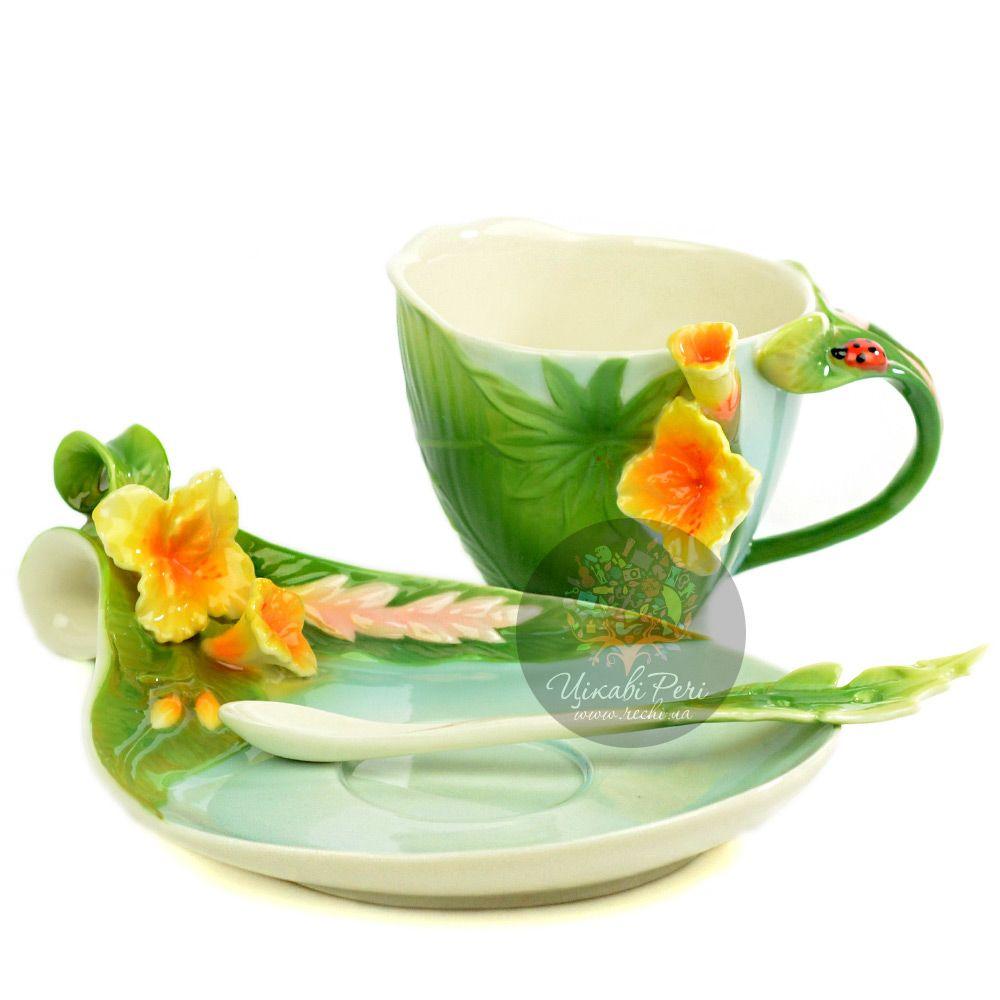 Набор Тропики: чашка блюдце ложечка Pavone