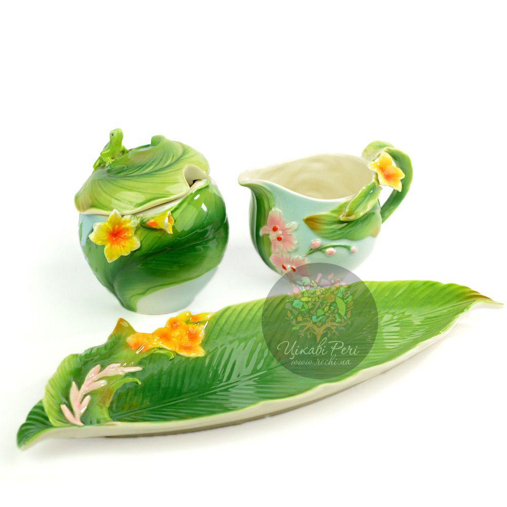 Набор Тропики: блюдо сахарница и молочник Pavone