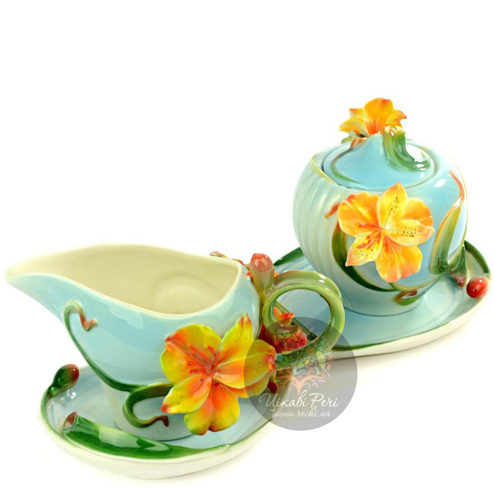 Набор Лилии: блюдо, сахарница и молочник Pavone
