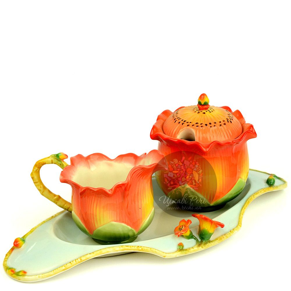 Набор Капок: блюдо сахарница и молочник Pavone