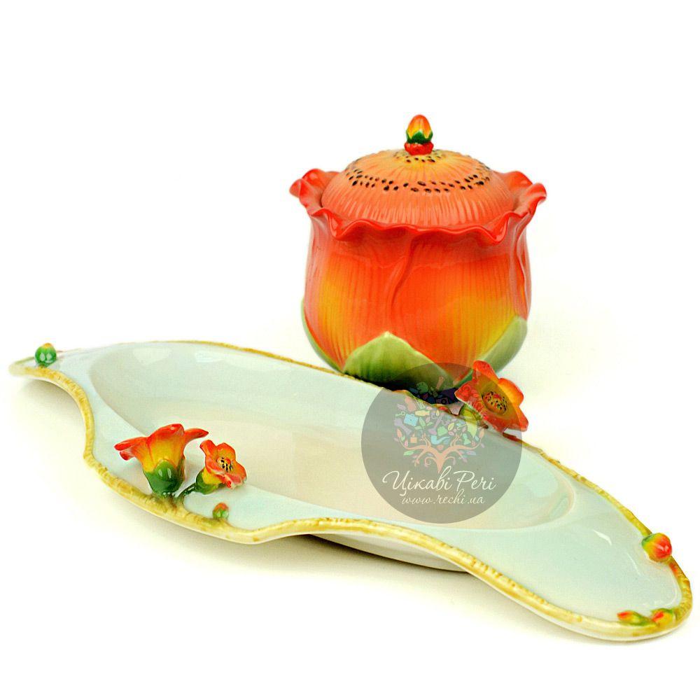 Набор Капок: блюдо, сахарница и молочник Pavone