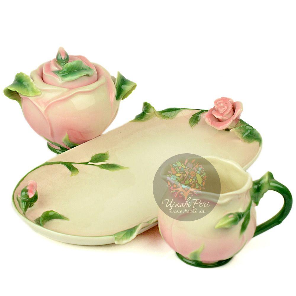 Набор Роза: сахарница и молочник Pavone
