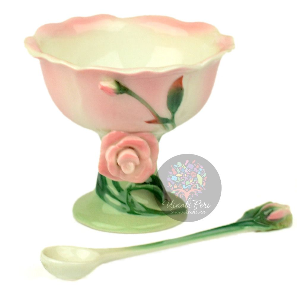 Креманка с ложечкой Роза Pavone