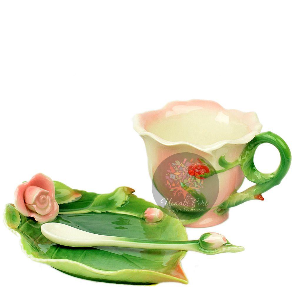 Набор Роза: чашка, блюдце, ложечка Pavone