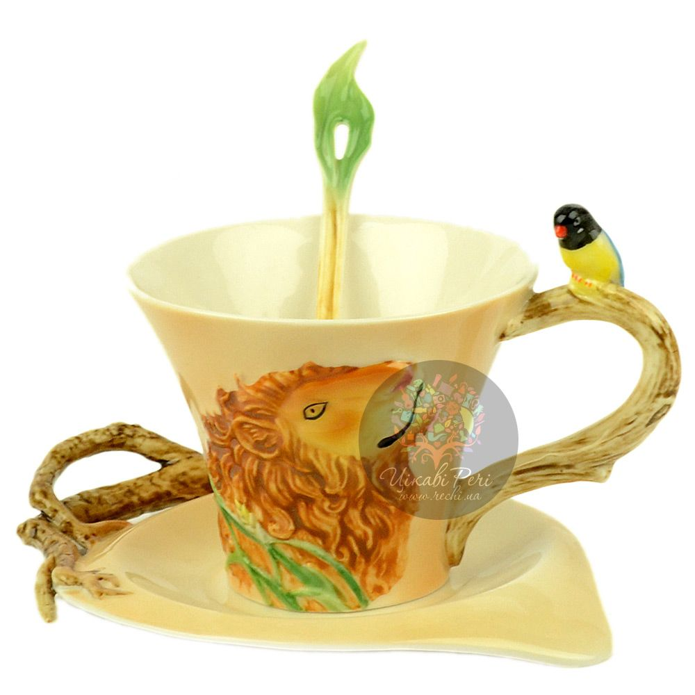 Набор Лев: чашка, блюдце, ложечка Pavone