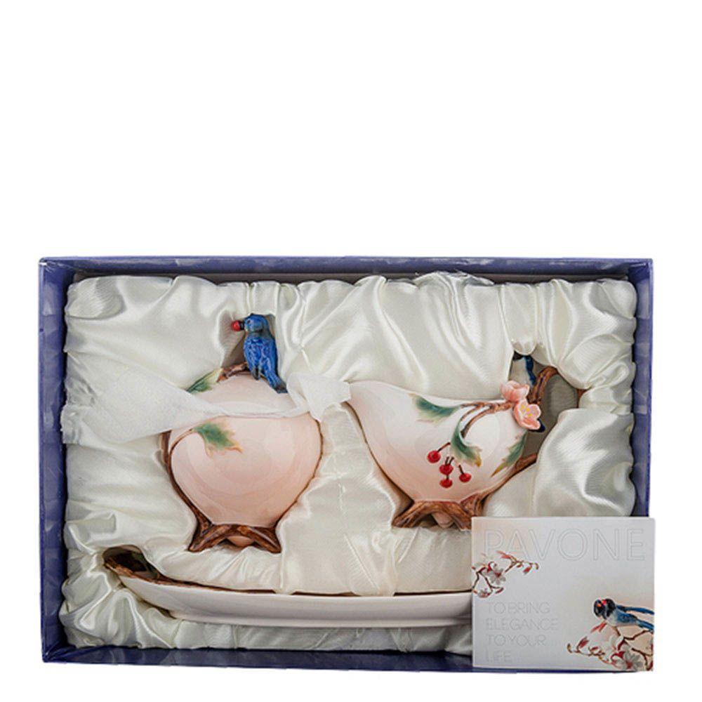 Набор сахарница и молочник Pavone Голубые птицы