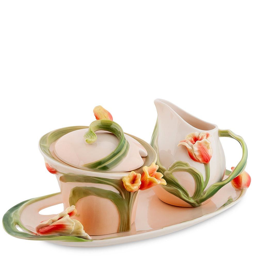 Набор сахарница и молочник Pavone Тюльпаны