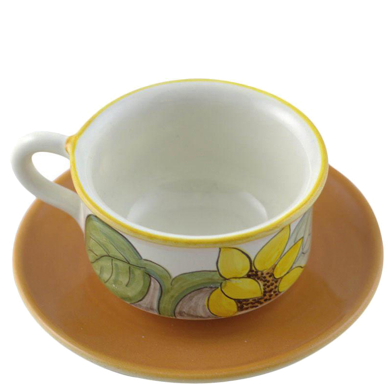 Чашка с блюдцем L'Antica Deruta Подсолнух из керамики