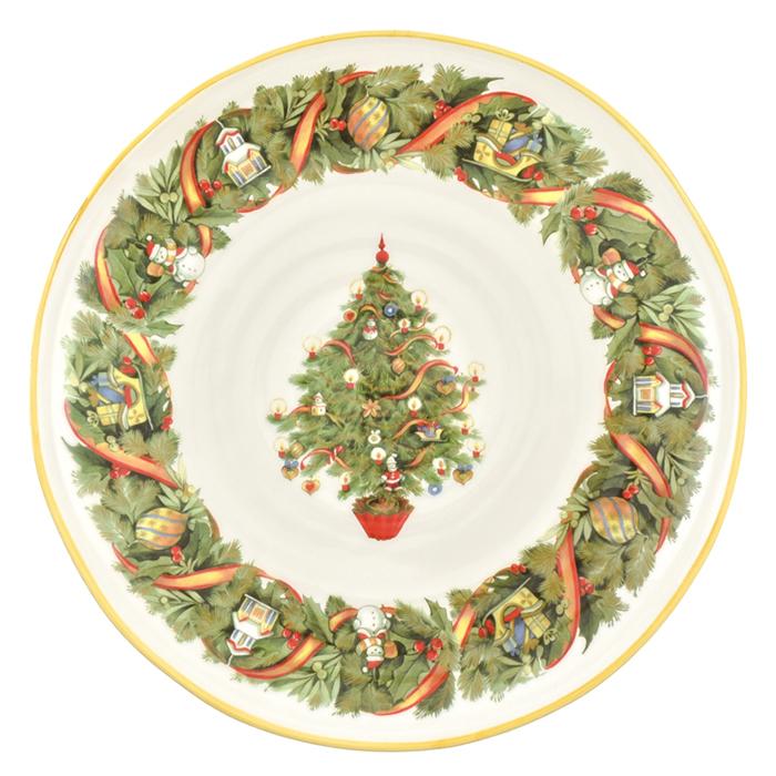 Большое блюдо Villa Grazia Яркое Рождество 39см