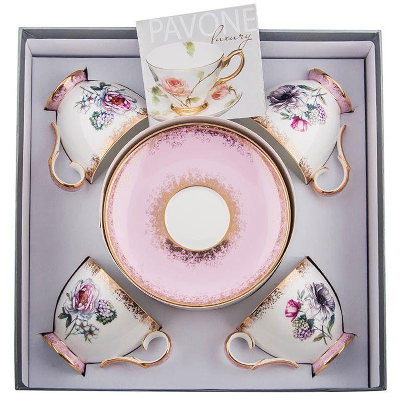 Чайный набор Pavone на четыре персоны Цветок Неаполя из фарфора