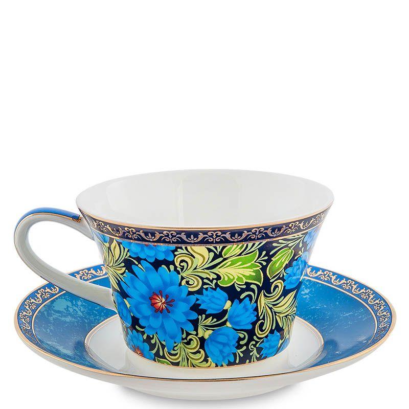 Чайный набор Pavone на две персоны Цветочный джаз синего цвета