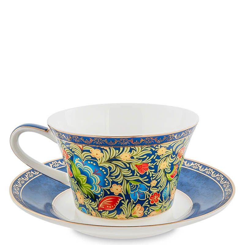 Чайный набор Pavone на две персоны Цветочный джаз голубого цвета