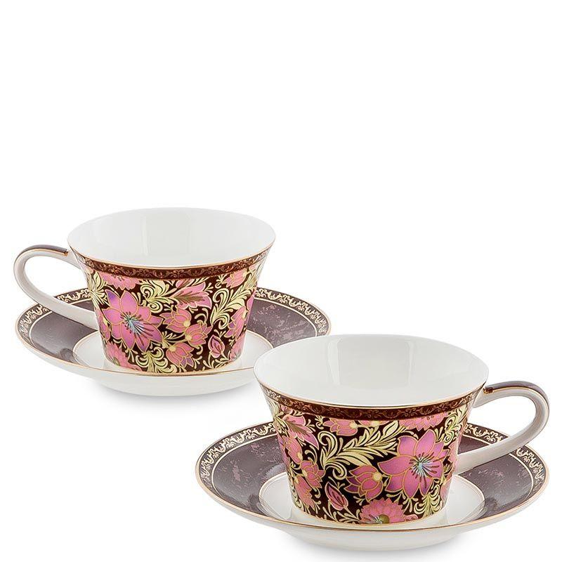 Чайный набор Pavone на две персоны Цветочный джаз коричневого цвета