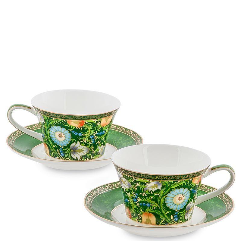 Чайный набор Pavone на две персоны Цветочный джаз зеленого цвета