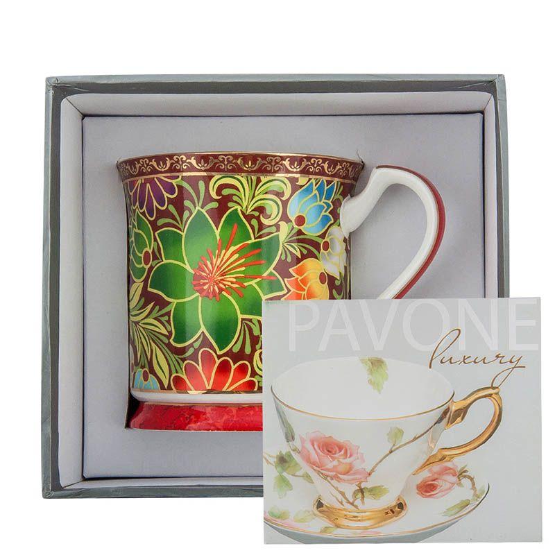 Чашка Pavone Цветочный джаз красного цвета