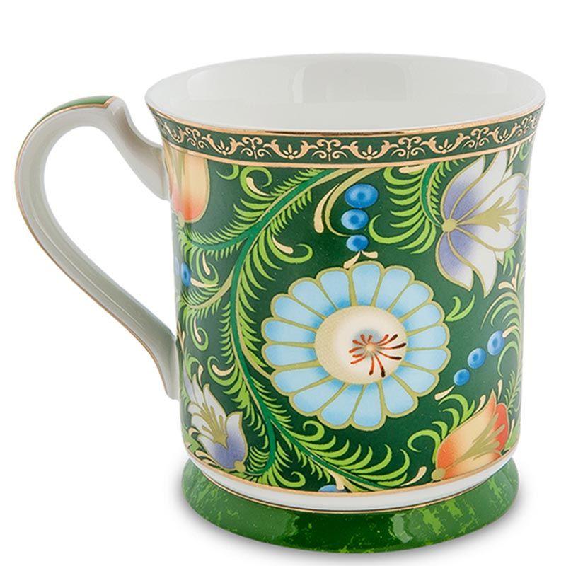 Чашка Pavone Цветочный джаз зеленого цвета