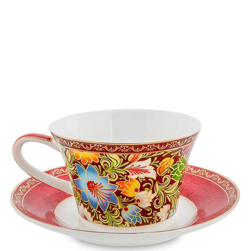 Чайный дуэт Pavone Цветочный джаз красного цвета