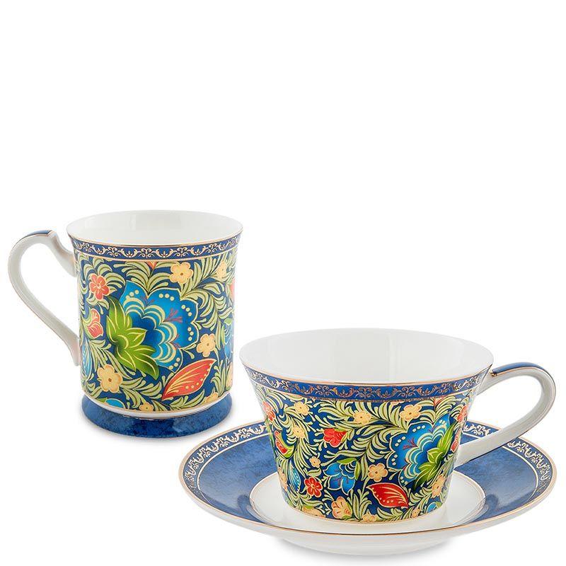 Чайный дуэт Pavone Цветочный джаз голубого цвета