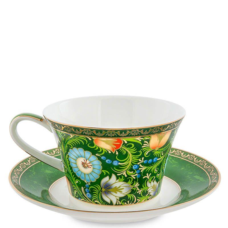 Чайный дуэт Pavone Цветочный джаз зеленого цвета