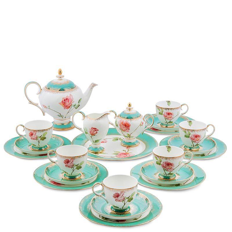 Чайный сервиз Pavone Milano Rose на шесть персон из фарфора