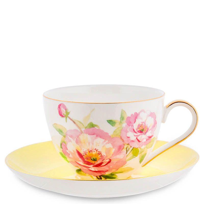 Чайный набор Pavone Torino Peony на шесть персон из фарфора