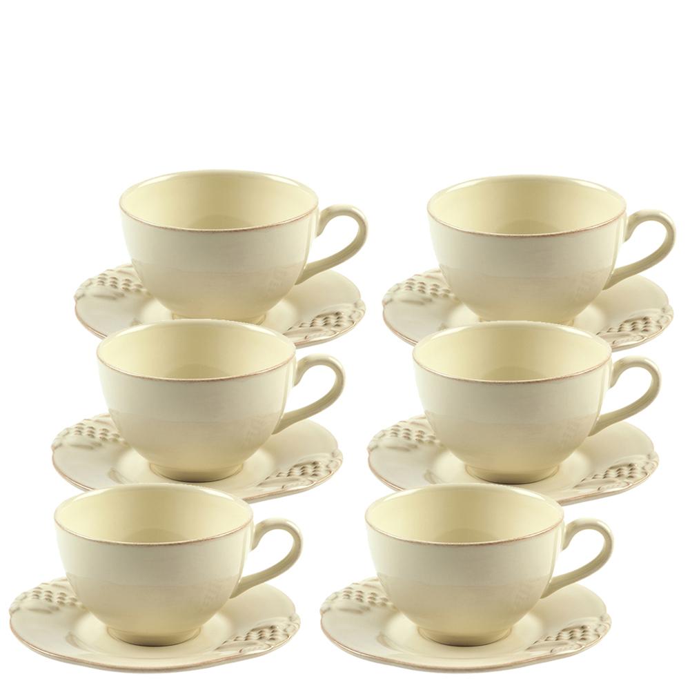 Чайный набор Costa Nova Mediterranea из 6 чашек и блюдец бежевого цвета 250мл