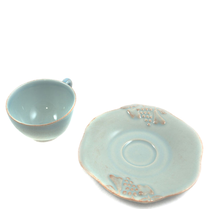 Чашка с блюдцем для кофе Costa Nova Mediterranea голубого цвета 90мл