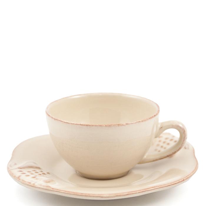 Чашка с блюдцем для кофе Costa Nova Mediterranea бежевого цвета 90мл