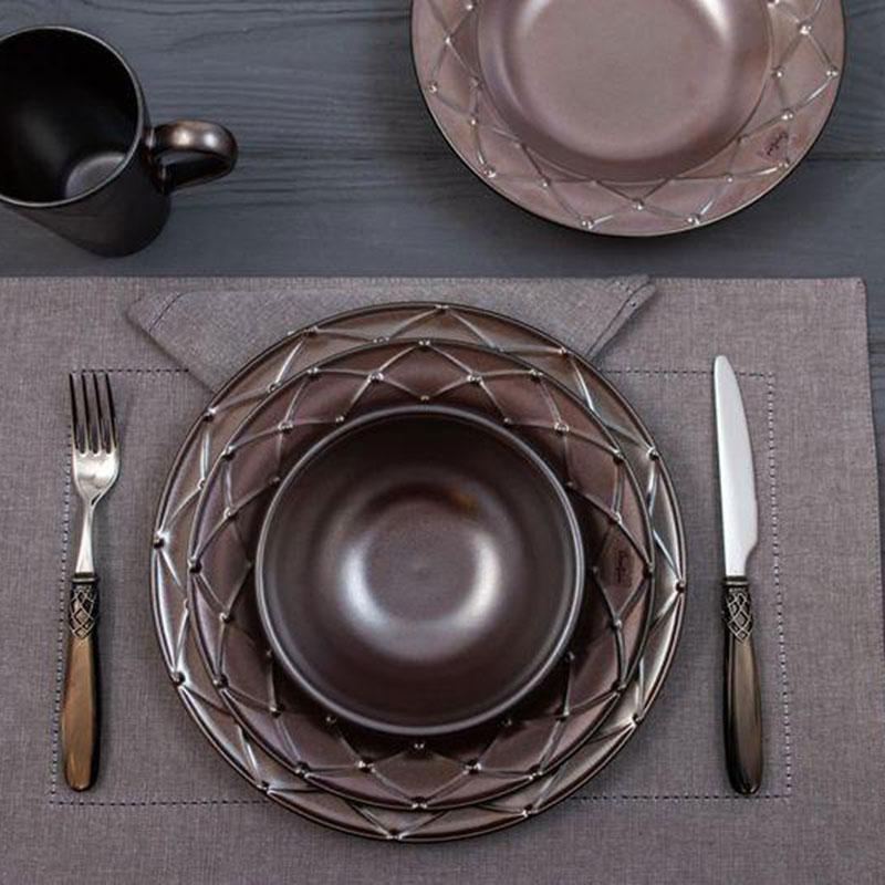 Тарелка для салата Costa Nova Meridian металлик 23см