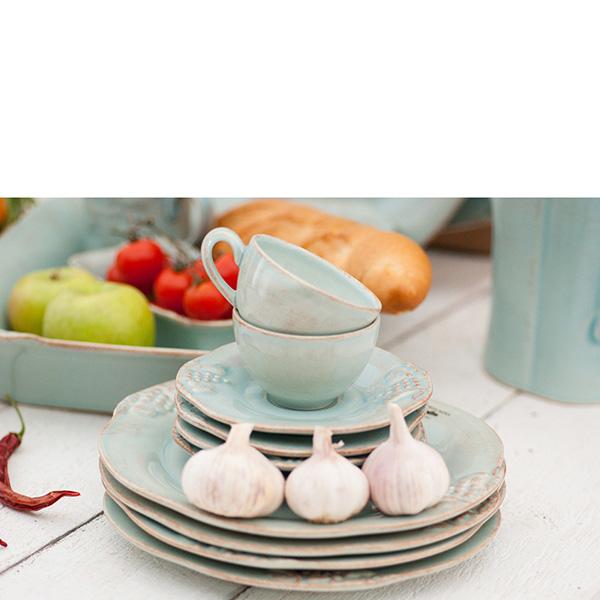 Набор из 6 салатных тарелок Costa Nova Mediterranea 21см голубого цвета