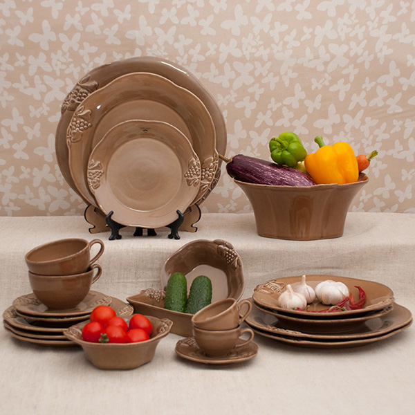 Набор из 6 тарелок для салата Costa Nova Mediterranea 21см коричневого цвета