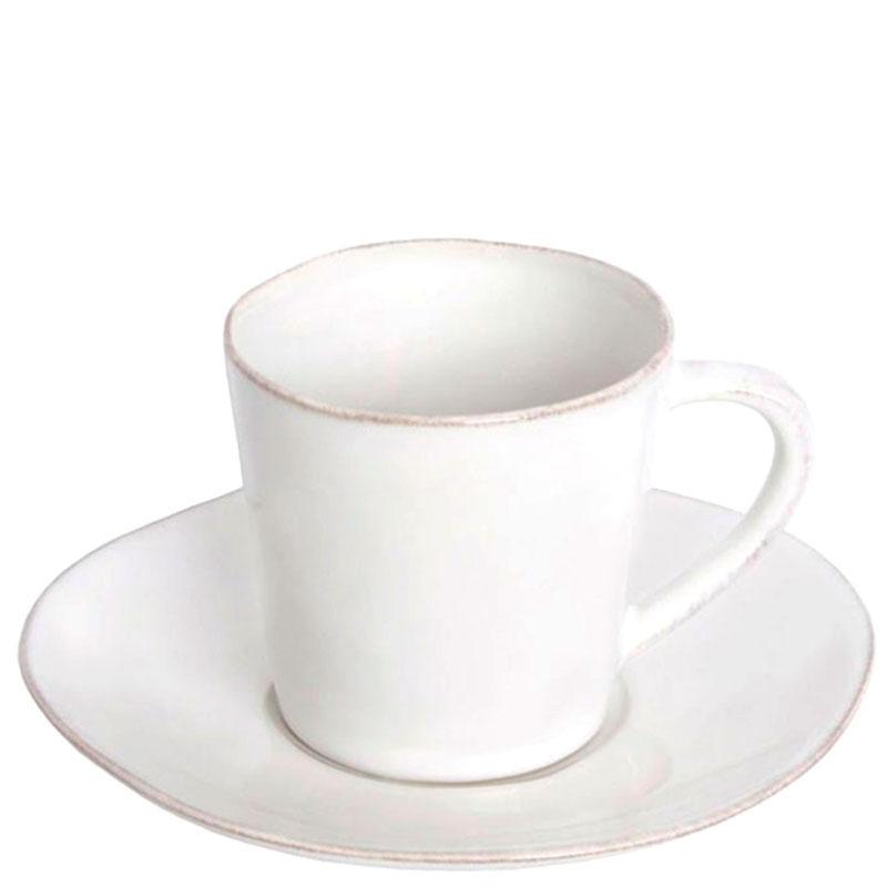 Чашка для кофе с блюдцем Costa Nova Nova белого цвета