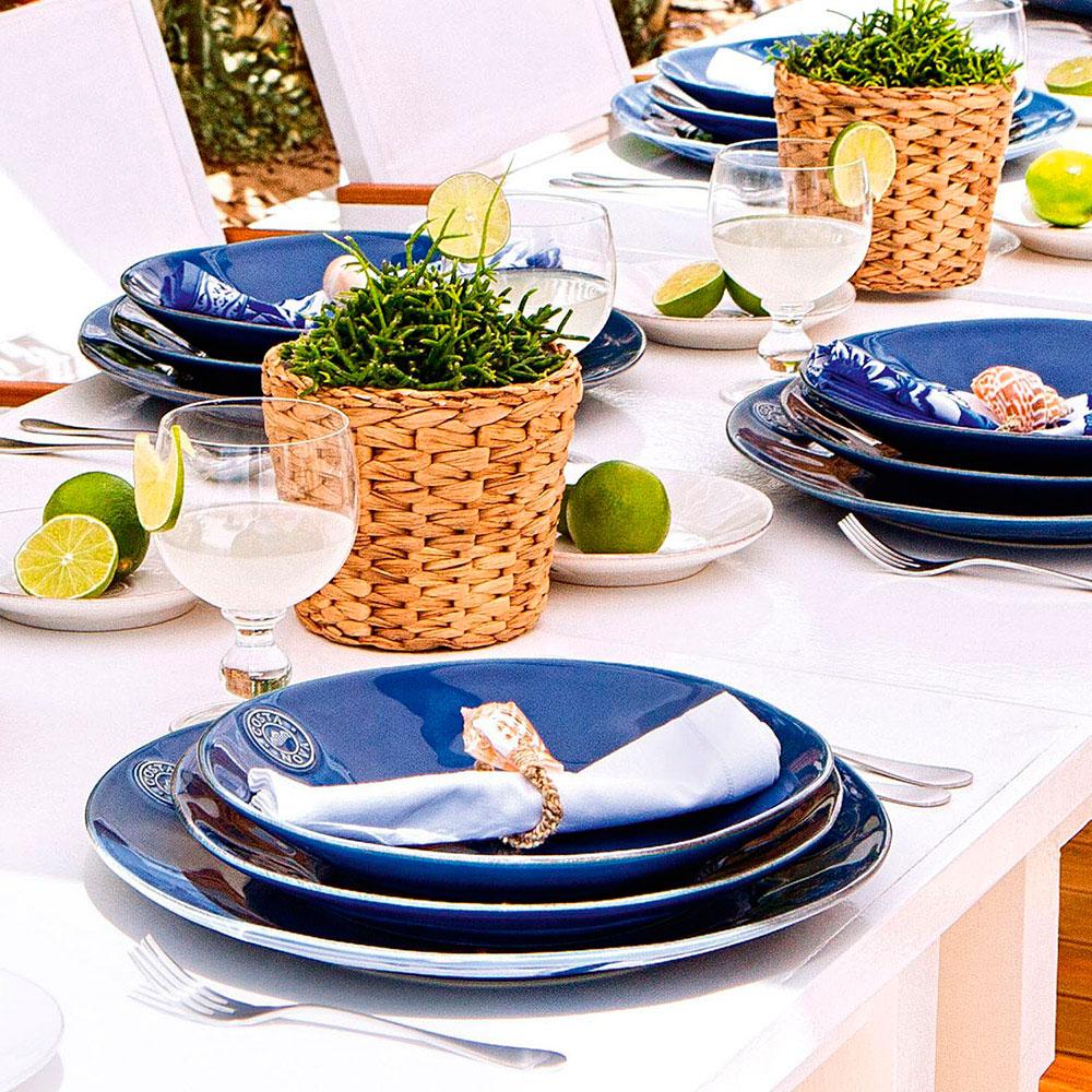 Синяя обеденная тарелка Costa Nova 27см