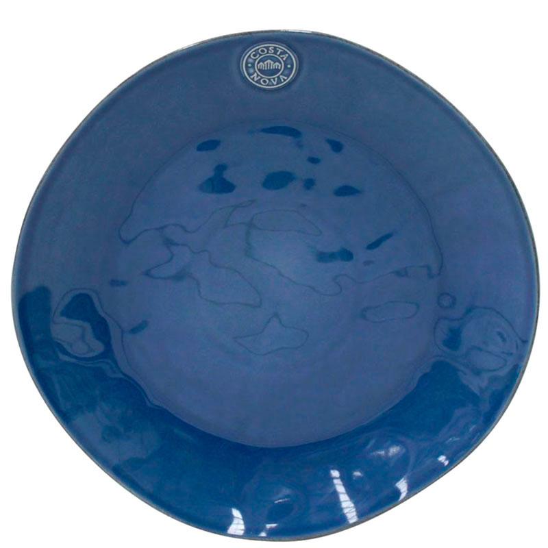 Круглое блюдо Costa Nova Nova из глянцевой керамики синего цвета