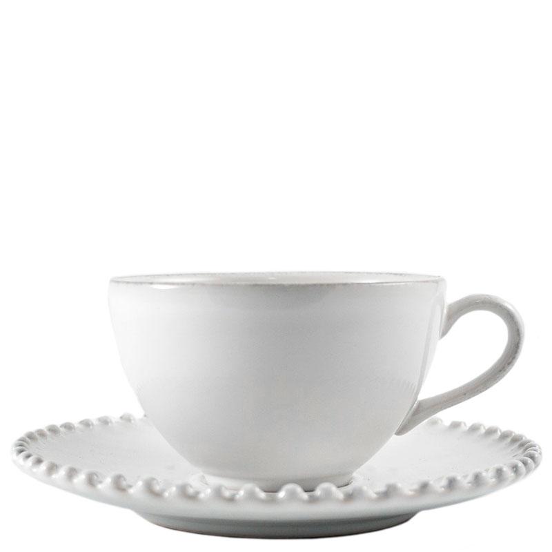 Белая чашка с блюдцем Costa Nova Pearl 300мл
