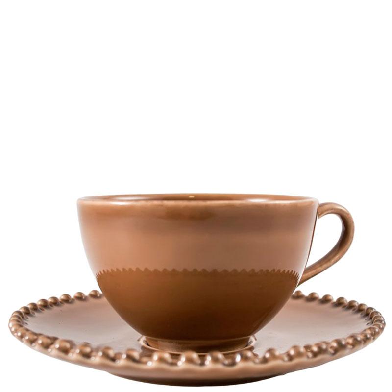 Набор из 6 чашек и блюдец Costa Nova Pearl коричневого цвета